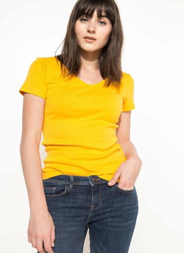 DeFacto V Yaka Basic T-shirt Sarı